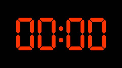Digital clock of 60 seconds with regular hundredths, 4K UHD, optimized for 30 fps to avoid frame rate distortions and interpolation artifacts - Red numbers