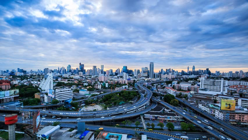 4K.Time lapse city landscape cityscape at Bangkok city asia Thailand. Footage Video Ultra HD, 4096 x 2304
