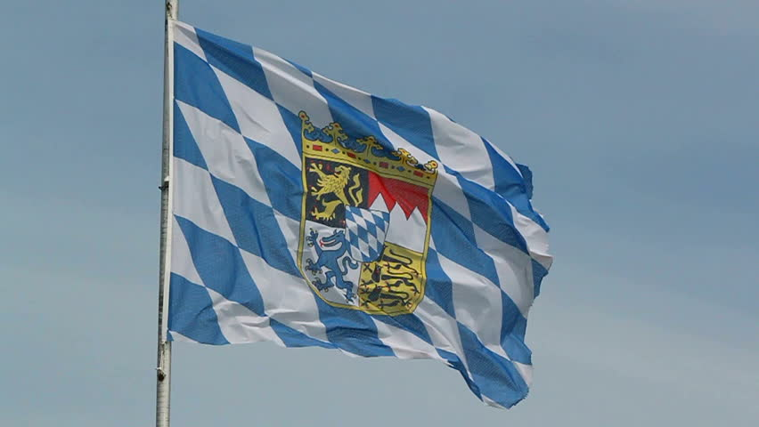 flag of german federal state Bavaria in the wind, slow motion