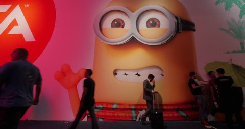 LOS ANGELES - June 16, 2015: Minion featured at Electronic Arts booth at the E3 2015 expo in LA Convention Center. Electronic Entertainment Expo E3, is an annual trade fair for the video game industry