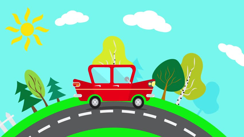 Cartoon Cars Stock Footage Video Shutterstock - Video of car driving across us map animated