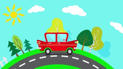 Animation riding car. Red car goes on the suburbs. Red car on a sunny day rides along the way. Loop animation.