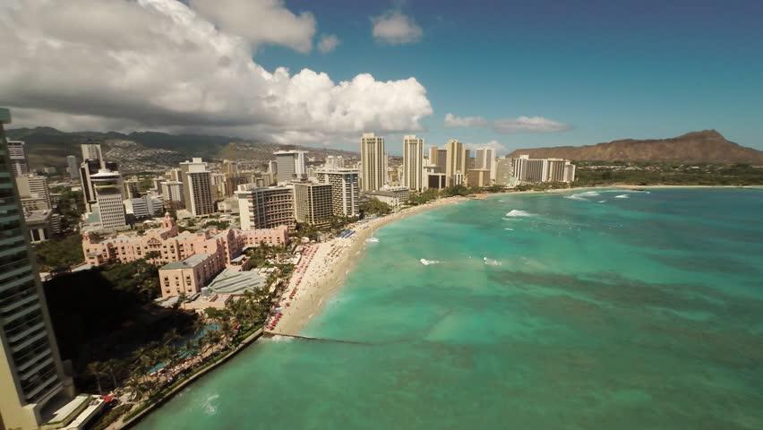 Aerial Shoot Kahanamoku Beach. Waikiki. Honolulu. Island O