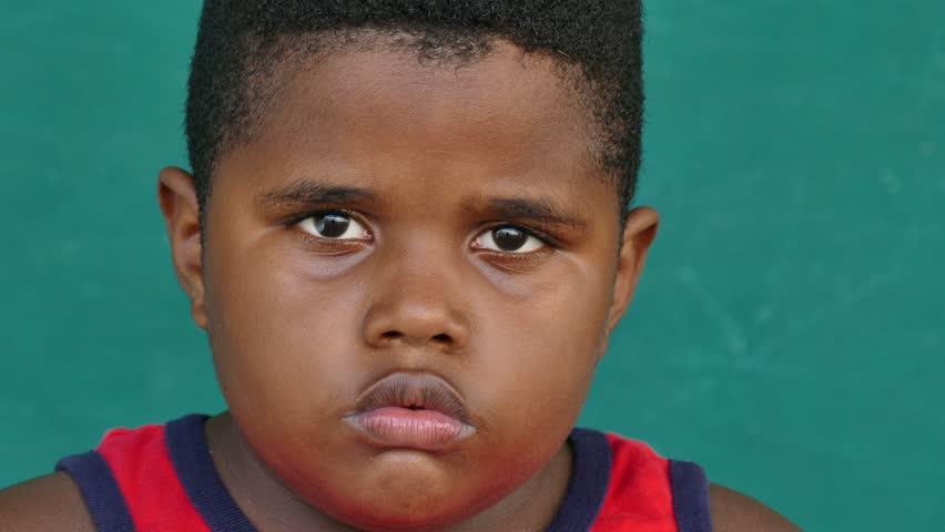 Overweight Black Kids Portrait Of Hap...