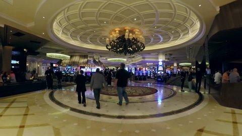 LAS VEGAS, - APRIL 15: Passage through the Bellagio casino. Time Lapse. April 15, 2015 in Las Vegas, Nevada, USA.