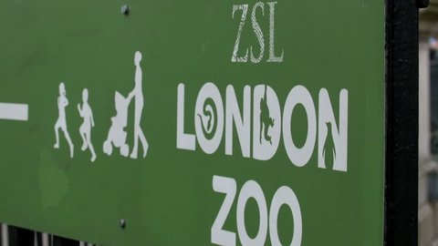 The entrance signage of the London Zoo. London Zoo is the worlds oldest scientific zoo.