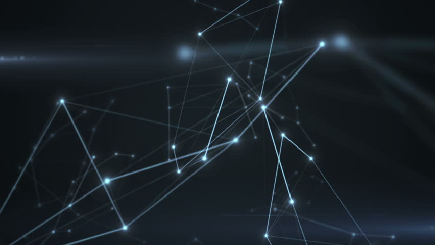 Abstract background of technology network. Animation of rotation and flying abstract lines and flicker dots linking network. Animation of seamless loop.