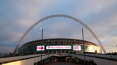 LONDON - APRIL 6: Wembley stadium on April 6, 2015 in London, UK. It's a football stadium in Wembley Park, which opened in 2007 on the site of the original Wembley Stadium which was demolished in 2003