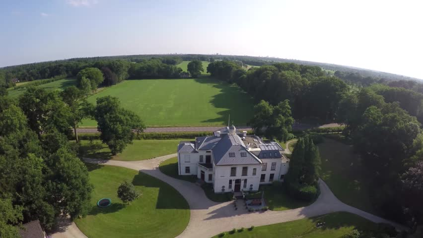 Classic Luxury House drone aerial bird eye helicopter view flying over beautiful