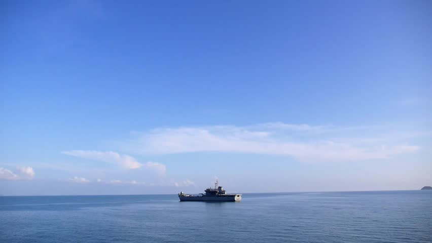 Fishing Ferry Ship Sailing in Still Blue Water against Blue Sky. Thailand. Gulf of Thailand. Slow Motion. HD, 1920x1080.  | Shutterstock HD Video #10811699