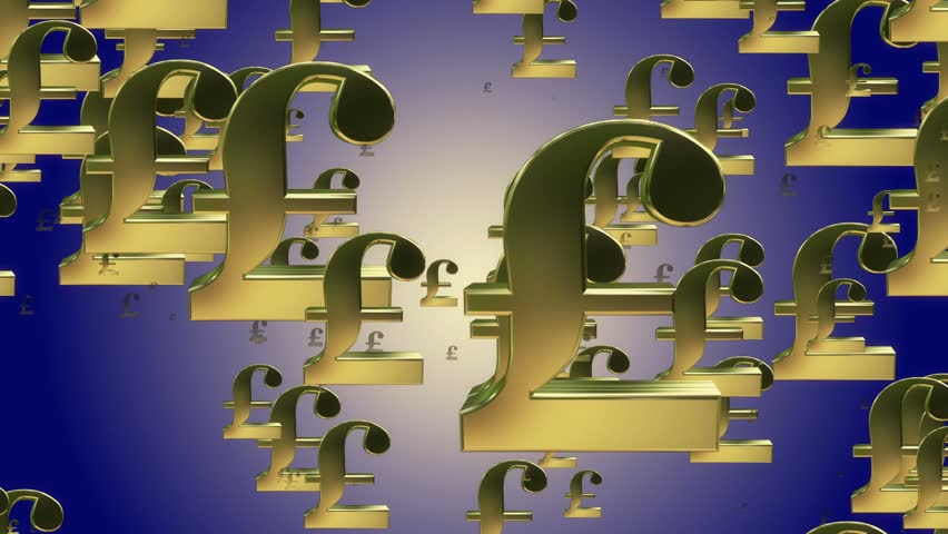 Flying English pounds signs | Shutterstock HD Video #10818089