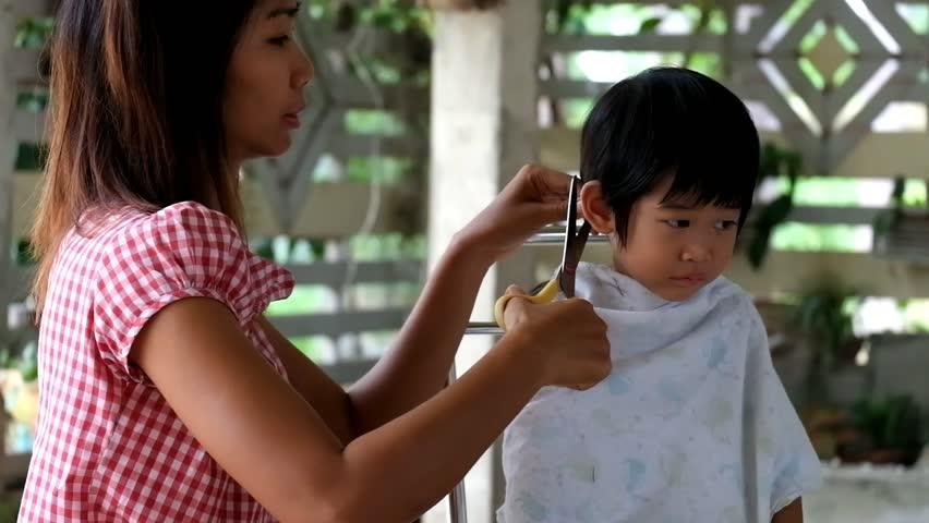 Mother Hair Dresses Her Boy Mom Hair Dresses Her Kid Son Son Annoy Mother Cut His Hair