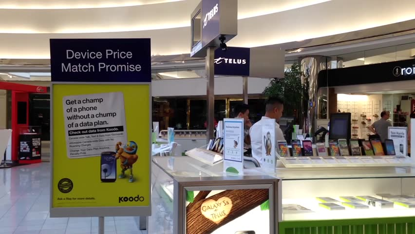 Richmond, BC, Canada   July 19, 2015 : One Side Of Telus Sales