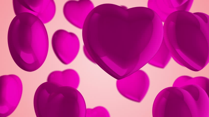 Animation flying of red glossy hearts. Abstract lovely background for Valentine's Day or movie about love and married. Animation of seamless loop. | Shutterstock HD Video #10865447