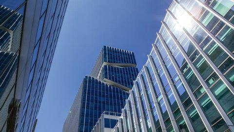 AMSTERDAM JULY 20, 2015 - Timelapse office building at Amsterdam Zuidas financial centre