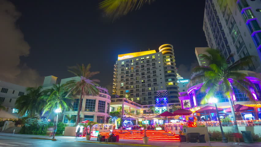 Night light miami beach ocean drive hotel illumination 4k time lapse florida usa