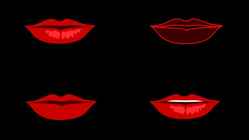 Set of speaking lips mouth. Red lips on the black background. Seamless animation | Shutterstock HD Video #10955099
