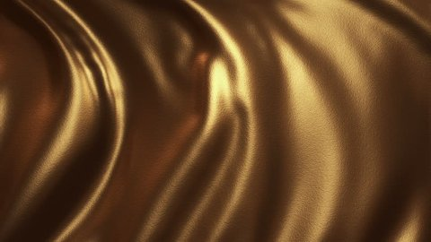 Animation of flow golden liquid with animated reflections. Wave and ripple on gold surface. Animation of seamless loop.