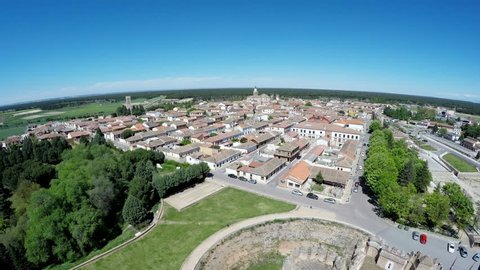 Aerial video of Coca Castle (Castillo de Coca) is a fortification constructed in the 15th century and is located in Coca, in Segovia province, Castilla and Leon, Spain.