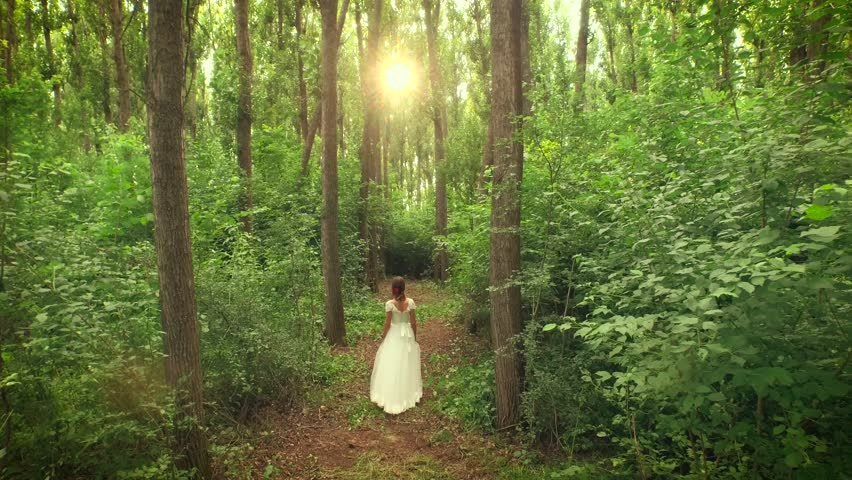 Beautiful-lady-walking-out-of-the-forest Image - Free ...