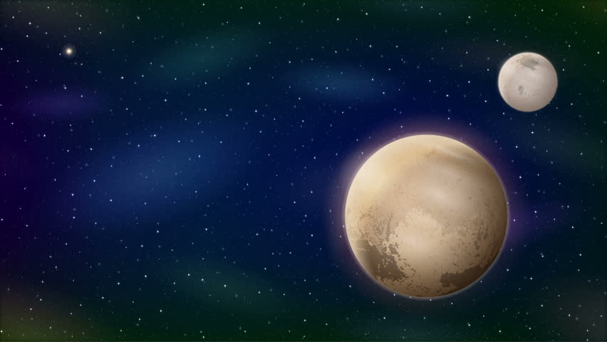 Fullhd 1920x1080 Progressive Seamlessly Looping Video of Space with Planet Pluto and Moon Charon, Sun, Bright Stars and Nebulas. Animated Background
