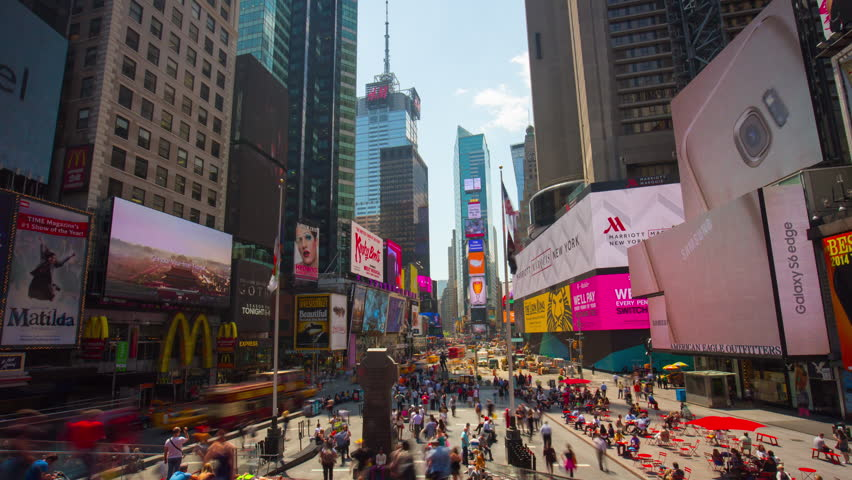 NEW YORK, USA - MAY 2015: sun light manhattan times square famous top view