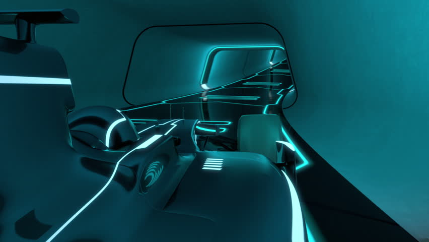 Driver's POV of a formula one racecar speeding along a futuristic tunnel with neon light lines in tron look - high quality 3d animation -  loopable | Shutterstock HD Video #1107409