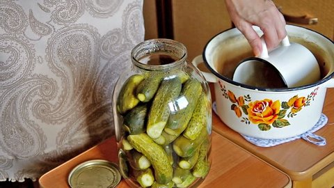 Fill brine environmentally friendly cucumbers for pickling at home