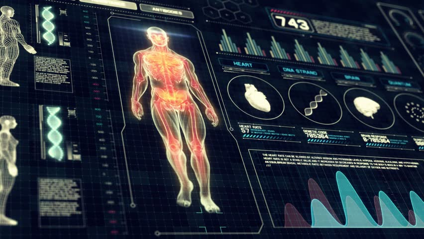 Full Body Anatomy Scan with Futuristic Touch Screen Diagnosis Interface in 3D x-ray - LOOP