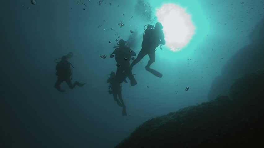 Underwater shot of scuba divers descending into deep, sunlight in background, low angle shot, coming towards camera | Shutterstock HD Video #11141759