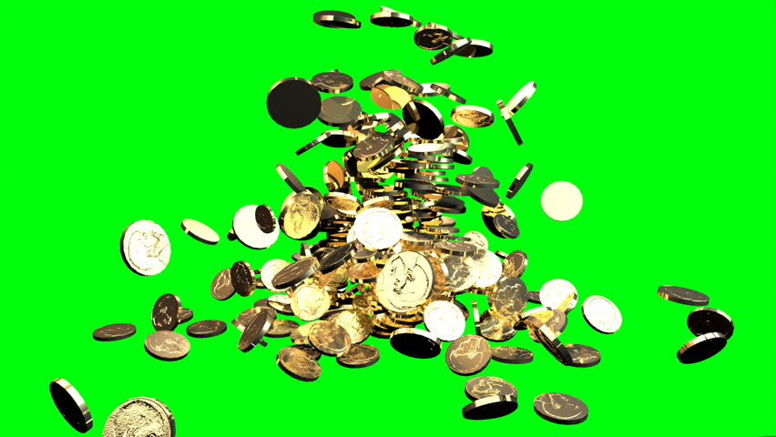 Coins fall against green chroma key background