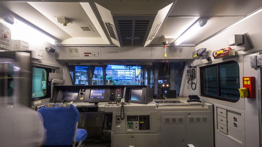YOKOHAMA, JAPAN AUGUST 12, 2015: View of the conductors room on a Keikyu Main Line train. The line links Tokyo and Yokohama.   Shutterstock HD Video #11200892