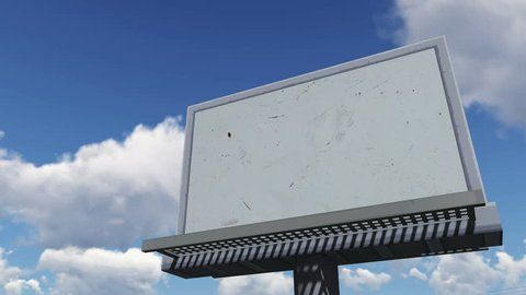 Look up at the blank cartoon billboard on the blue cloudy sky background. Decorative three dimensional animation.