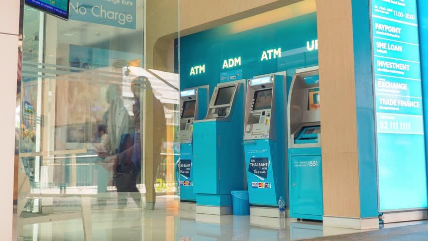 THAILAND, KOH SAMUI, 12.05.2015 - Bank Clients Using Automatic Teller Machines - ATM. Timelapse. HD, 1920x1080.