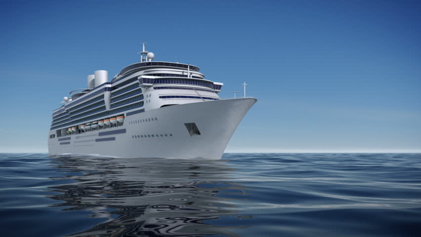 A P HD Video Of Camera Flying Towards The Front Of A Luxury - Cruise ship cam