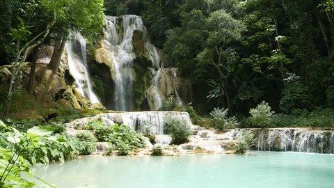 Facade of Kuang Si waterfall (sometimes spelled Kuang Xi) or known as Tat Kuang Si Falls, South of Luang Prabang, Laos.