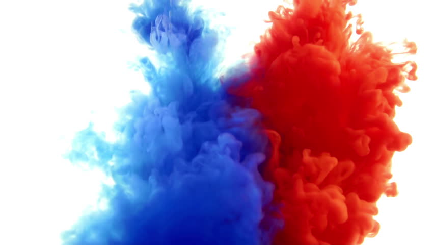 Red And Blue Ink In WaterCreative Slow Motion On A White Background