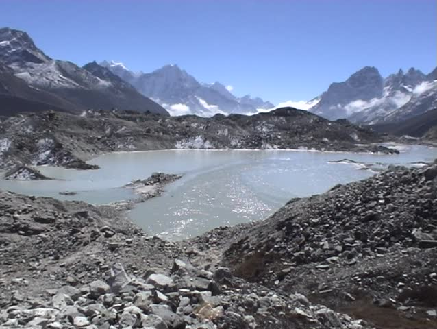 3-views of melting glaciers in the Gokyo Valley of Nepal.