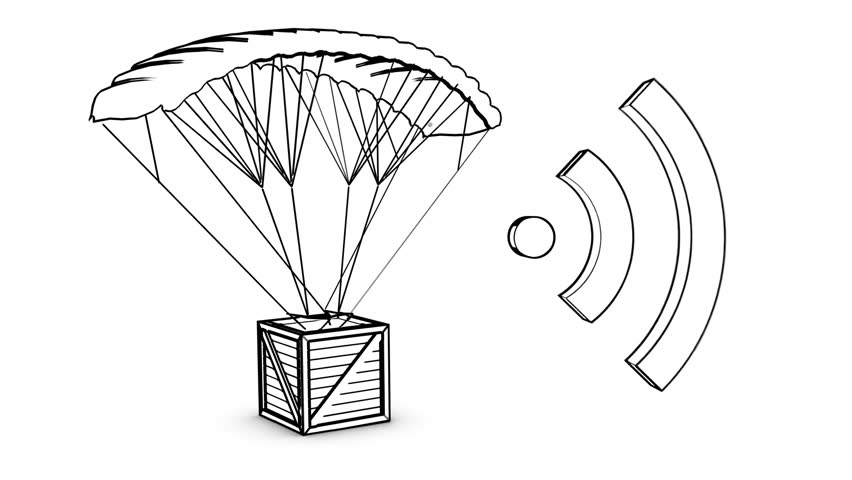 parachute box with wireless sign