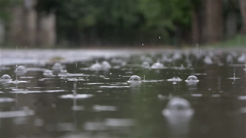 Rainfall 4k 30 Fps Close Up Low Angle View In The
