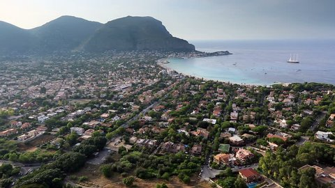 Palermo Sicily July 2015, Tracking Shot Time Lapse Aerial View Mondello Bay at Palermo Sicily
