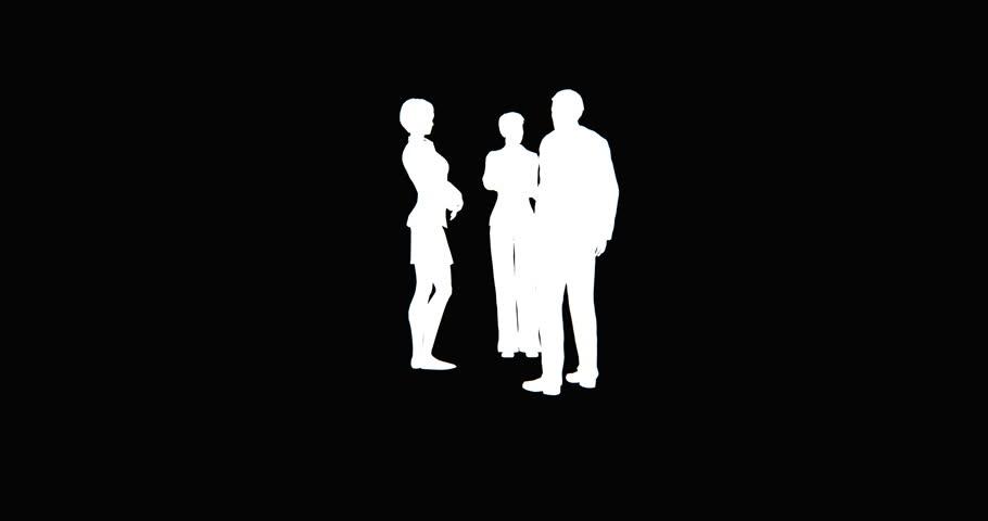 4k Business people silhouette talking. cg_02761_4k
