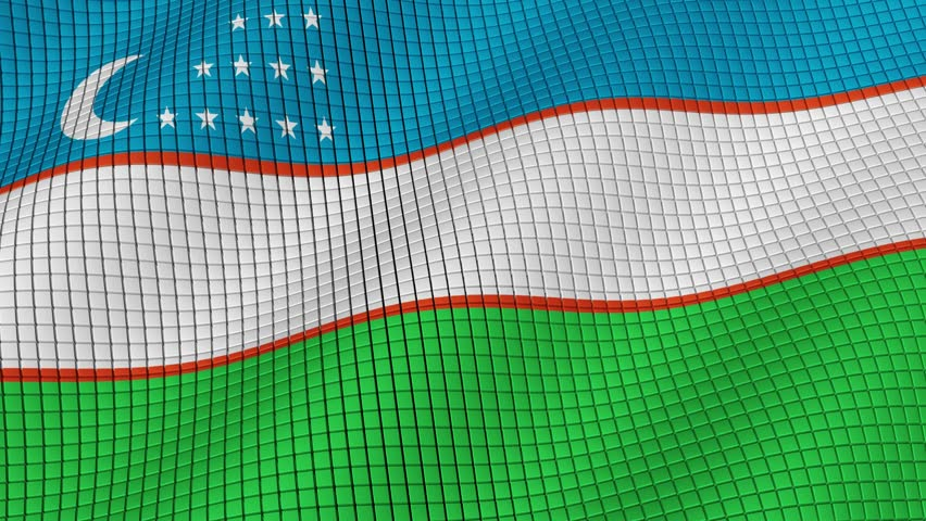 The flag of Uzbekistan is developing waves. Looped. Full HD 1080.