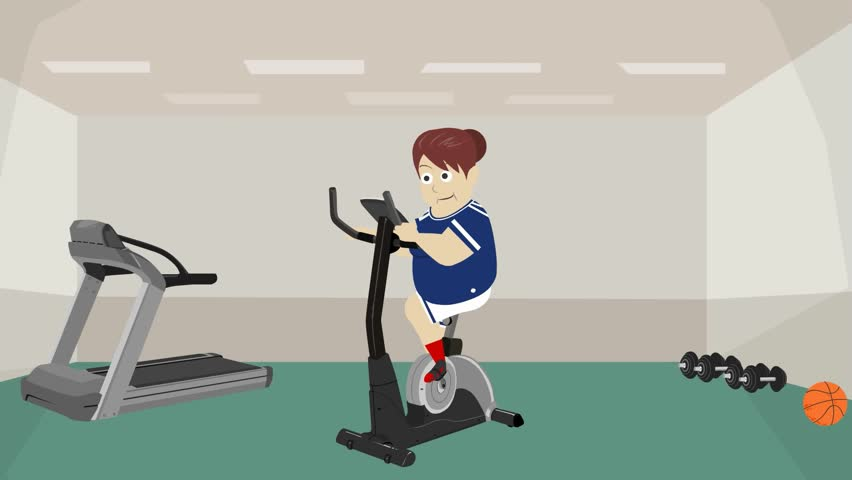 Athletic Gym, Color Cartoon, Woman In Gym Woman Jumping On ...