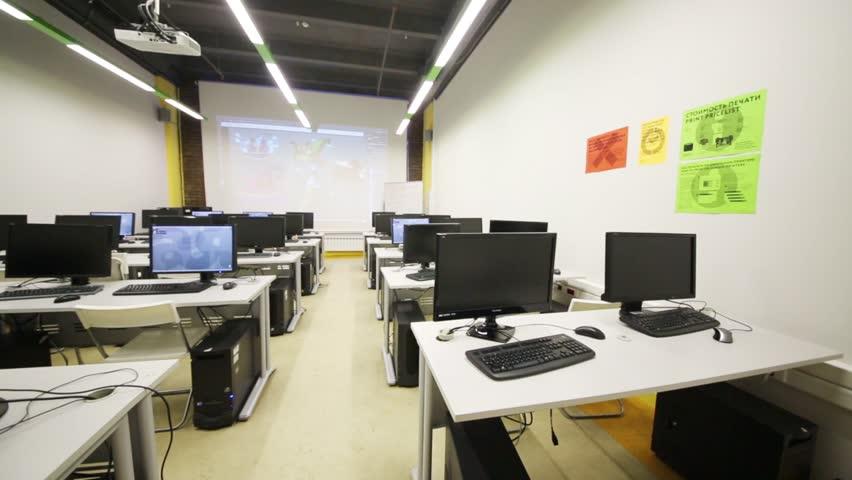 Modern Computer Classroom ~ Modern office space stock footage video