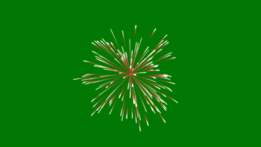 Exploding Fireworks Particles on a Green Screen Background