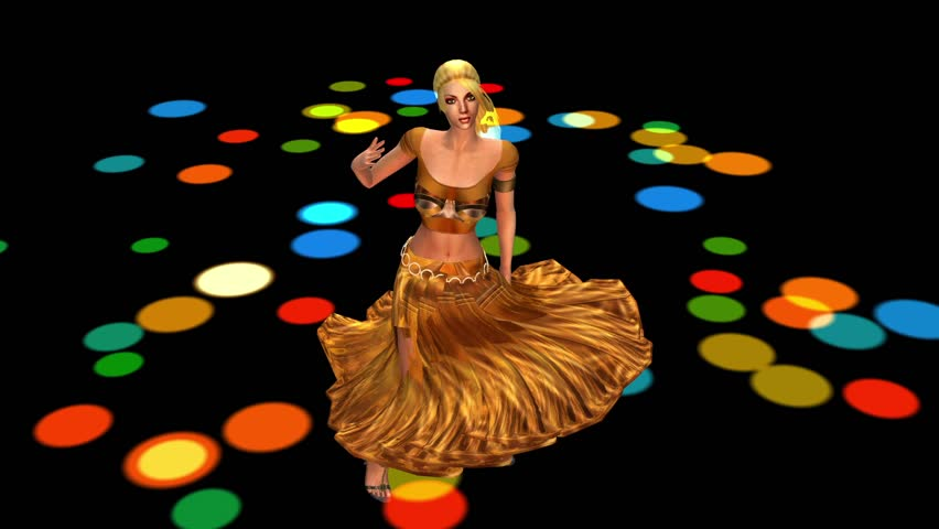dancer dancing merrily on dance floor.dress&gold skirt with colorful stage light. cg_01097