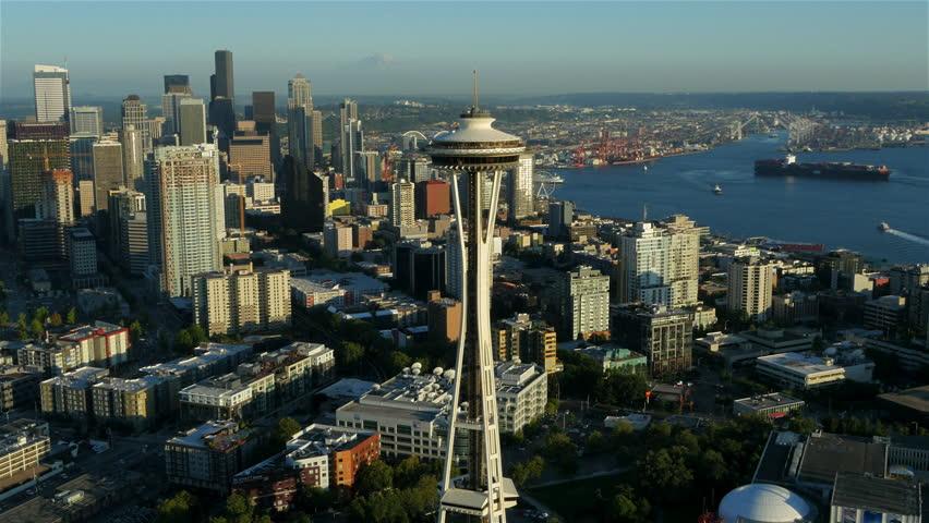 SEATTLE, WA. JULY 2015: Seattle Space Needle aerial July, 2015