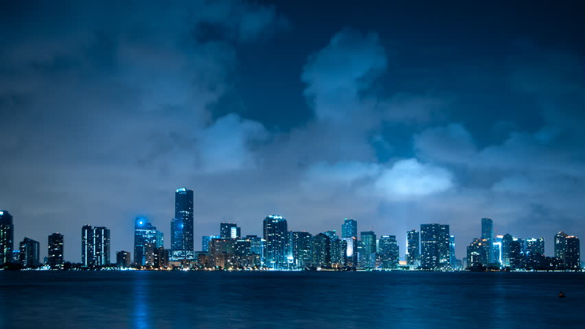 Time lapse of the Miami skyline with lots of clouds passing by
