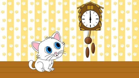 Kitten watching cuckoo clock seamless loop video 4k UHD